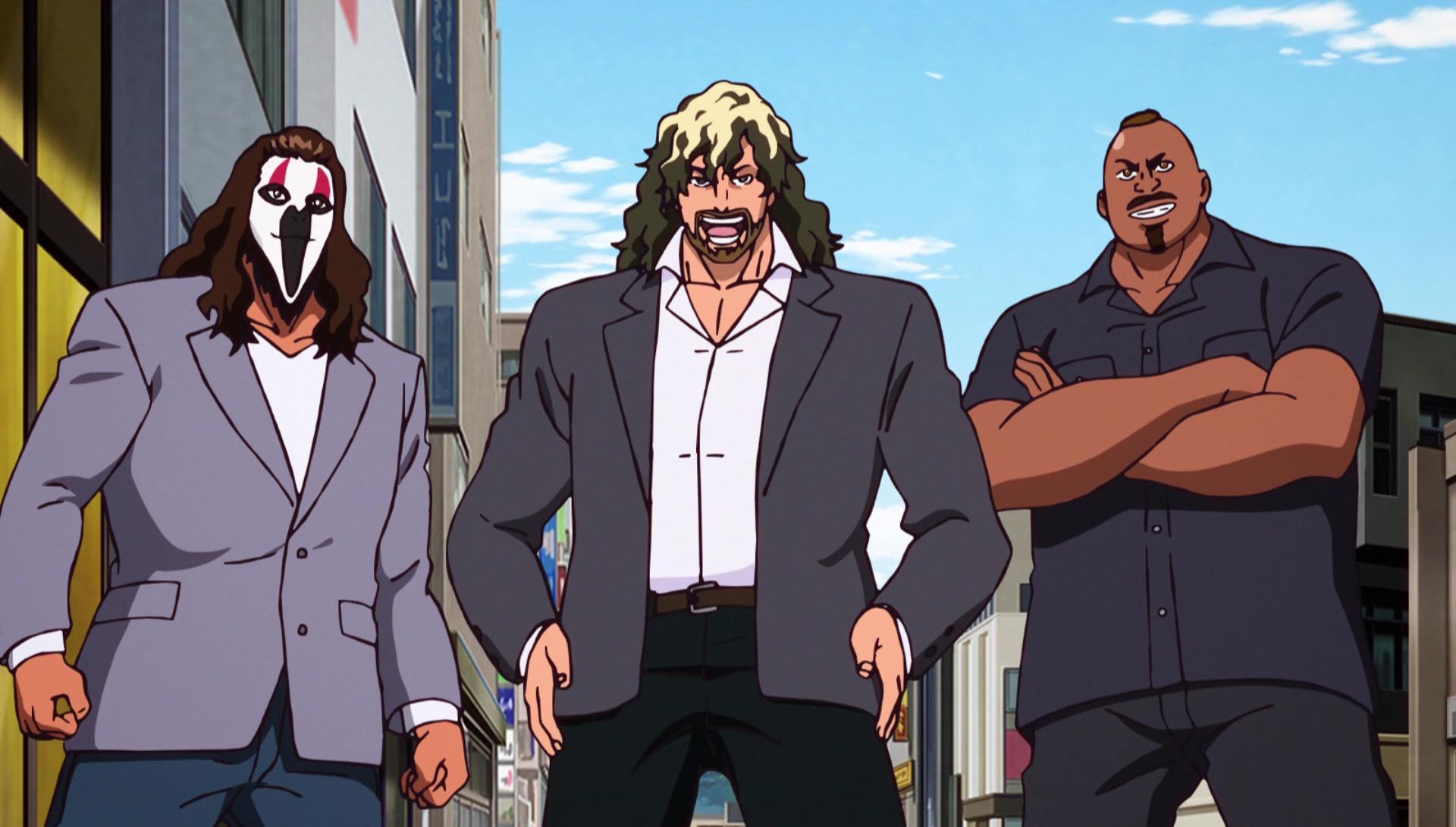 personaggi anime grossi con barba su sedia a rotelle